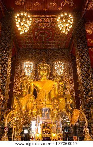Buddha statue in Wat Phra That Hariphunchai, Lamphun province, north of Thailand