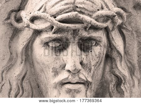 Face of Jesus Christ crown of thorns (Religion faith sin salvation concept)