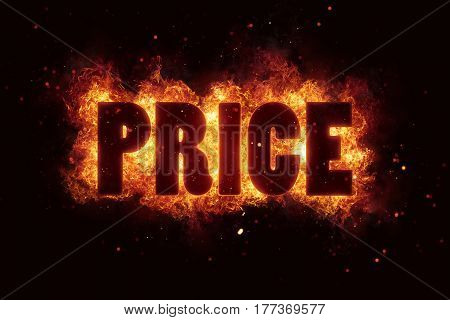 Hot Price and Hot Deal text on fire flames explosion burning explode