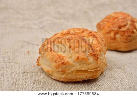 Puff Pastry With Cottage Cheese On Jute Background