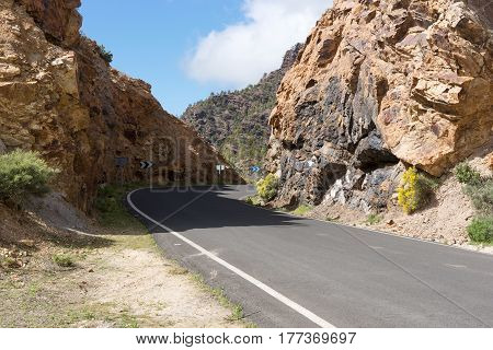 Road through the mountains on the island of Gran Canaria