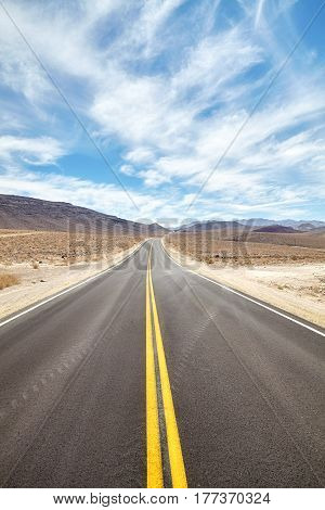 Endless Desert Road In Death Valley, Travel Concept.