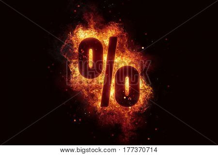 Fire sign Percent text on fire flames explosion burning explode