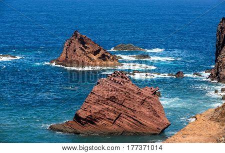 Beautiful landscape at the Ponta de Sao Lourenco the eastern part of Madeira Portugal