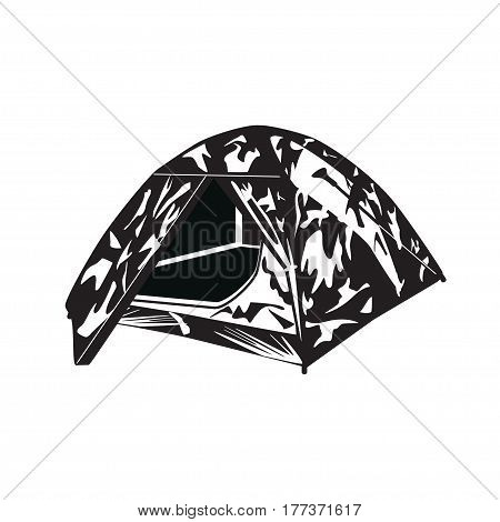 Vector illustration of camping tent isolated on white background. Tourist hunter tent in flat style in black and white colors.