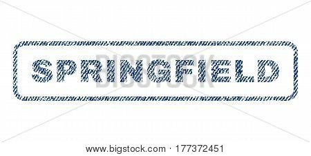 Springfield text textile seal stamp watermark. Blue jeans fabric vectorized texture. Vector caption inside rounded rectangular shape. Rubber emblem with fiber textile structure.