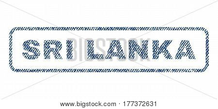 Sri Lanka text textile seal stamp watermark. Blue jeans fabric vectorized texture. Vector tag inside rounded rectangular shape. Rubber emblem with fiber textile structure.