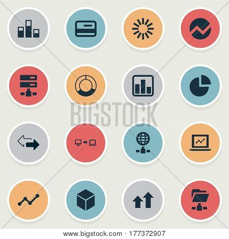 Vector Illustration Set Of Simple Data Icons. Elements Statistics, Increase, Digital Documnet And Other Synonyms Graphic, Directions And Global.