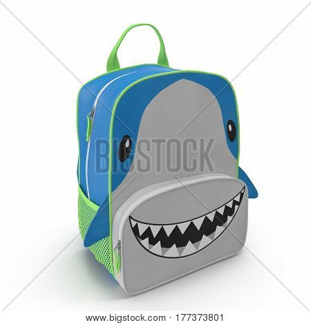 Child's Backpack Shark Design on a white background. 3D illustration
