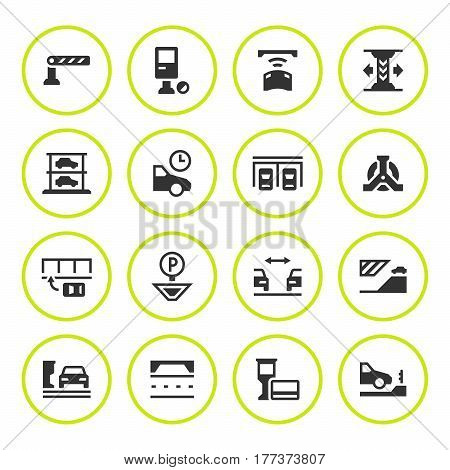 Set round icons of parking isolated on white. Vector illustration