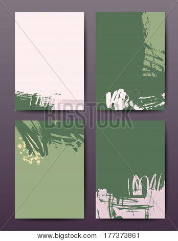 Modern grunge brush design templates, invitation, banner, art vector cards design in bright colors