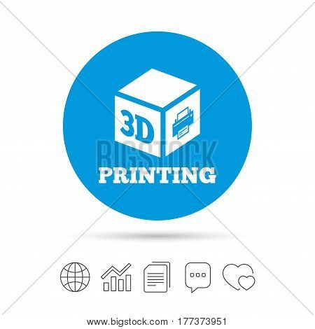 3D Print sign icon. 3d cube Printing symbol. Additive manufacturing. Copy files, chat speech bubble and chart web icons. Vector
