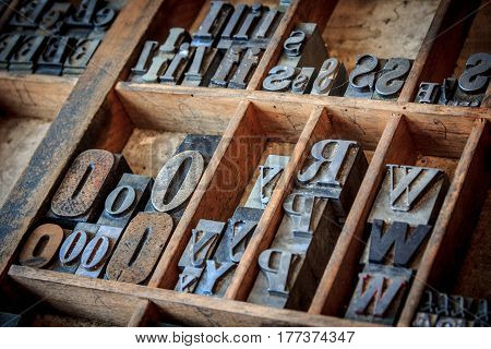 vintage typescript for letterpress - shallow depth of field