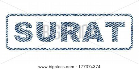 Surat text textile seal stamp watermark. Blue jeans fabric vectorized texture. Vector caption inside rounded rectangular shape. Rubber emblem with fiber textile structure.