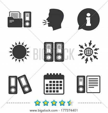 Accounting icons. Document storage in folders sign symbols. Information, go to web and calendar icons. Sun and loud speak symbol. Vector