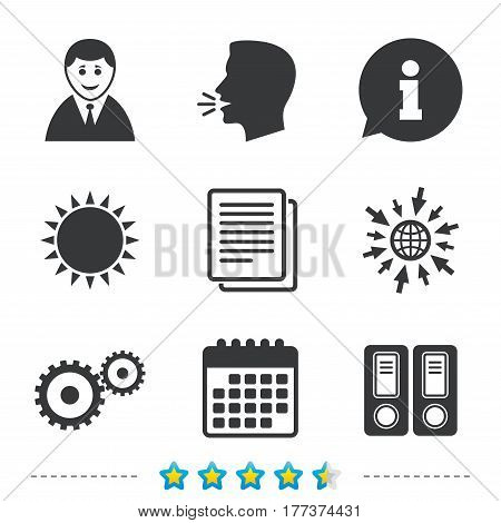 Accounting workflow icons. Human silhouette, cogwheel gear and documents folders signs symbols. Information, go to web and calendar icons. Sun and loud speak symbol. Vector
