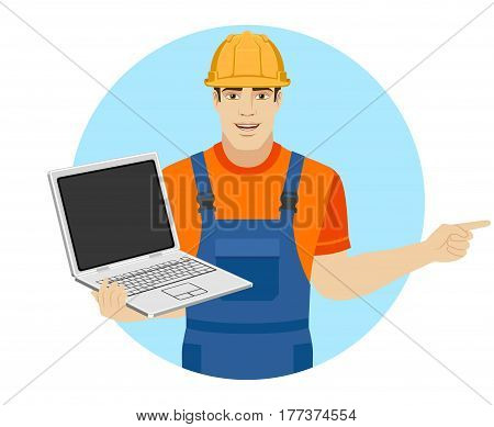 Builder holding laptop notebook and pointing somewhere. Portrait of builder in a flat style. Vector illustration.
