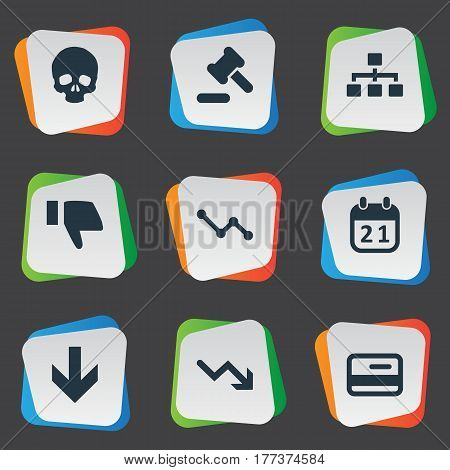 Vector Illustration Set Of Simple Crisis Icons. Elements Net, Head Bone, Downward And Other Synonyms Cursor, Thumb And Card.