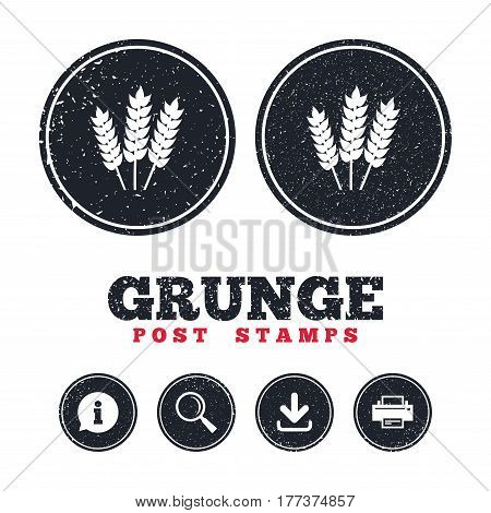 Grunge post stamps. Agricultural sign icon. Gluten free or No gluten symbol. Information, download and printer signs. Aged texture web buttons. Vector