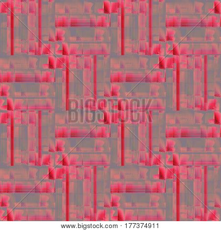 Abstract geometric seamless modern background. Regular shifted pattern in pink, red and purple shades with red stripes on gray.