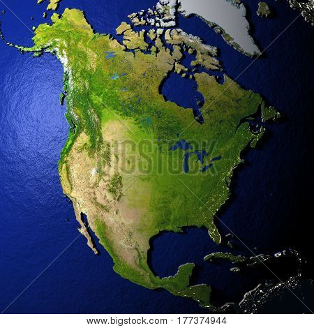 North America On Model Of Earth With Embossed Land