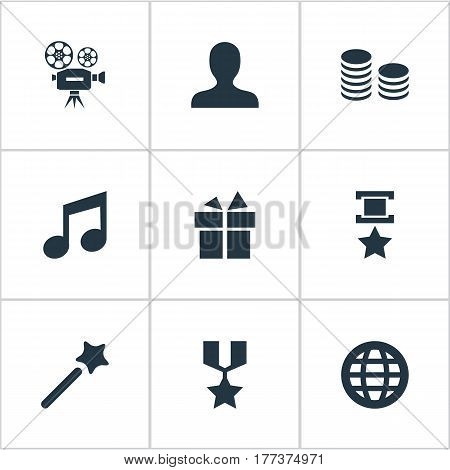 Vector Illustration Set Of Simple Champion Icons. Elements Present, Melody, Currency And Other Synonyms Magic, Surprise And Coins.