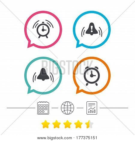 Alarm clock icons. Wake up bell signs symbols. Exclamation mark. Calendar, internet globe and report linear icons. Star vote ranking. Vector