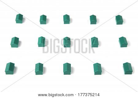 Plastic houses isolated on white background. Board game pieces.
