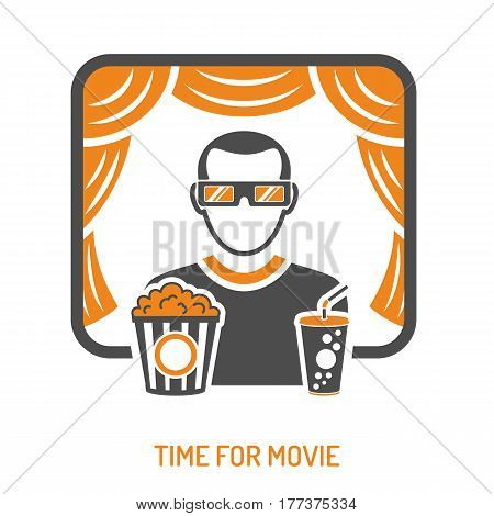 Cinema and Movie concept with two color Icons Set like popcorn, theater and viewer. Isolated vector illustration