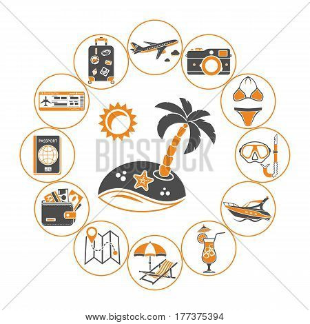 Vacation Time and Tourism Concept in Flat style two color icons such as Map, Boat, Luggage, Trip, Cocktail, Island and Aircraft. isolated vector illustration