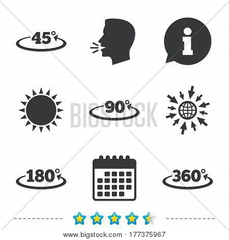 Angle 45-360 degrees icons. Geometry math signs symbols. Full complete rotation arrow. Information, go to web and calendar icons. Sun and loud speak symbol. Vector