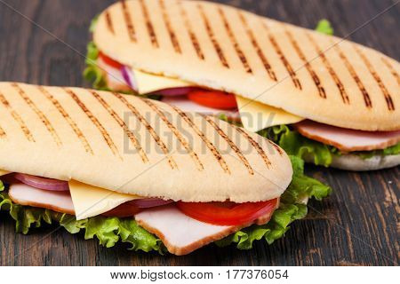 sandwich on a wooden