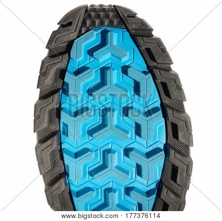 Top of colorful running shoe sole isolated on white