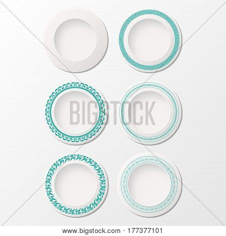 Set of six white plates with different blue ornaments