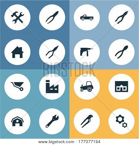 Vector Illustration Set Of Simple Wrench Icons. Elements Transportation, Construction, Workshop And Other Synonyms Wrench, Equipment And Electric.