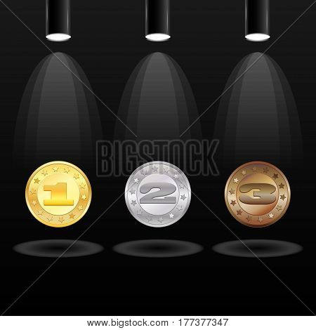 Black background with three electric searchlights and medals