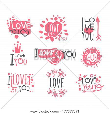 Romantic I Love You Message For St Valentines Day Postcard, Colorful Graphic Design Template Logo Set, Hand Drawn Vector Stencils. Artistic Promo Posters With Funky Font And Fun Design Elements.