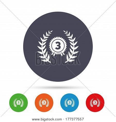 Third place award sign icon. Prize for winner symbol. Laurel Wreath. Round colourful buttons with flat icons. Vector