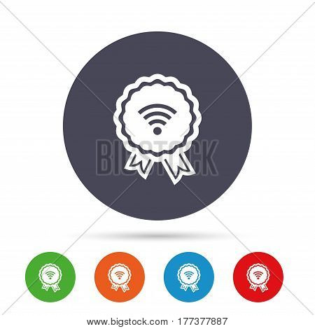 Award Wifi sign. Wi-fi medal symbol. Wireless Network icon. Wifi zone. Round colourful buttons with flat icons. Vector