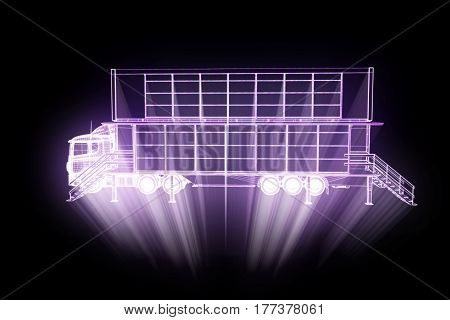 Touring Party Truck Car in Hologram Wireframe Style. Nice 3D Rendering.