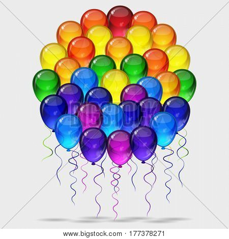 Birthday party background - colorful festive balloons with ropes flying for celebrations card in isolated white background with space for you text.