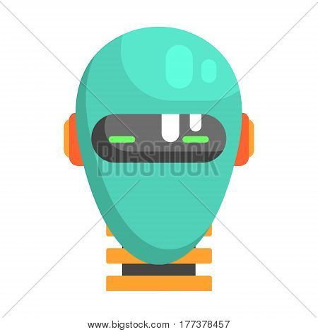 Android Head Facing Portrait, Part Of Futuristic Robotic And IT Science Series Of Cartoon Icons. Computer Technology Future Progress Illustration In Simple Bright Style With AI Bionic Objects.