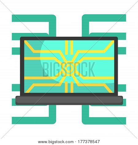 Lap Top Computer Connected To System Network, Part Of Futuristic Robotic And IT Science Series Of Cartoon Icons. Computer Technology Future Progress Illustration In Simple Bright Style With AI Bionic Objects.