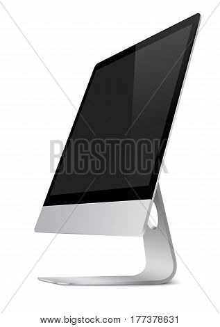 Modern computer monitor display with black screen and shadows isolated on white background. 3D illustration.