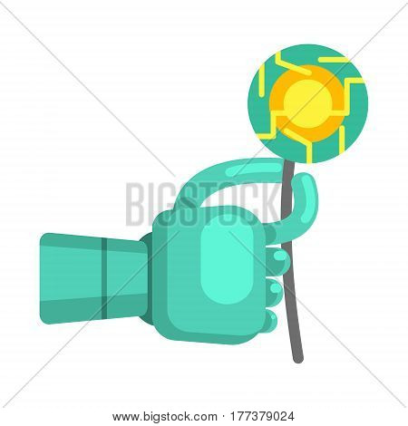 Metal Android Hand Holding Electronic Flower, Part Of Futuristic Robotic And IT Science Series Of Cartoon Icons. Computer Technology Future Progress Illustration In Simple Bright Style With AI Bionic Objects.