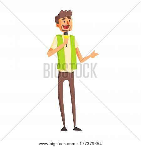 Journalist In Green Vest Asking Quesion On Press Conference, Official Press Reporter Working, Collecting Information And Making News, Part Of Journalism Set Of Illustrations. Cartoon Character Doing Journalistic Job For Magazine Or Television.