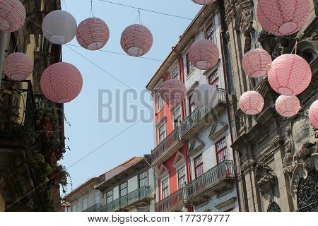 Lampions in old-city street of Porto Portugal
