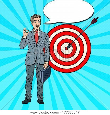 Pop Art Happy Businessman Achieved the Target. Business Success. Vector illustration