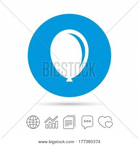 Balloon sign icon. Birthday air balloon symbol. Copy files, chat speech bubble and chart web icons. Vector