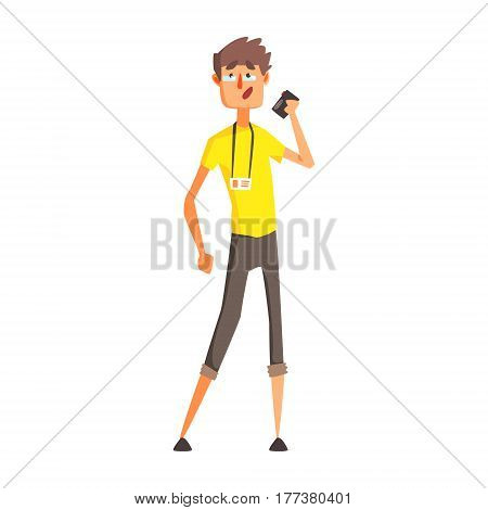 Journalist With Dictophone, Official Press Reporter Working, Collecting Information And Making News, Part Of Journalism Set Of Illustrations. Cartoon Character Doing Journalistic Job For Magazine Or Television.